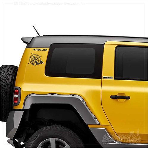 Adesivo em Recorte Jeep Off Road Bússola Rosa dos Ventos
