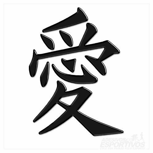 Adesivo Emblema Amor Ideograma Japonês Kanji