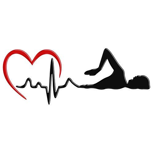Adesivo Emblema Natação Batimentos Cardíacos