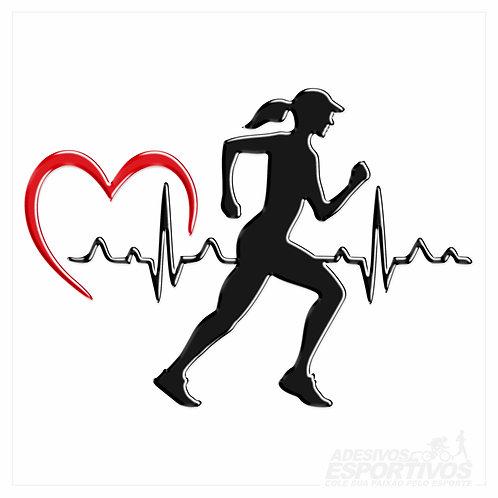 Adesivo Emblema Corredora Batimentos Cardíacos