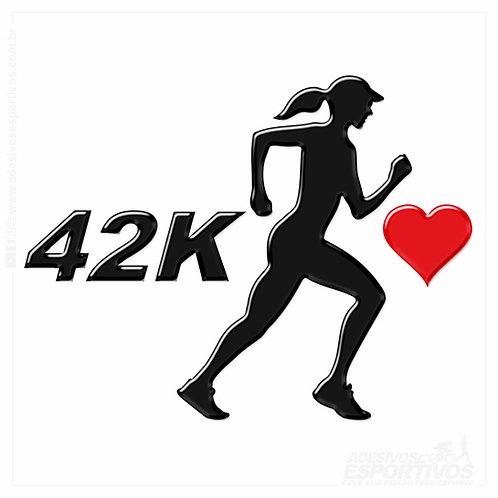 Adesivo Emblema Corredora Eu Amo 42k Resinado 3D