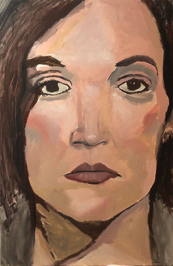Female self portrait originial oil painting by New Hampshire Artist Victoria Sager inspired by Impressionism and Expressionism