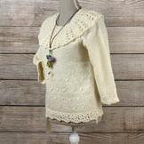 手紡ぎ 手編み 白のデザインセーター(St2)