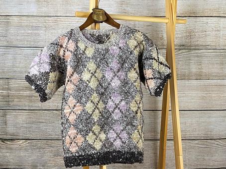 草木染のアーガイルセーター(Hm2)
