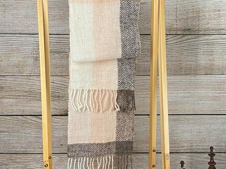 ピンクの手織りマフラー(My2)