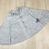 手紡ぎ手編みケープコート(At1)草木染&ナチュラルカラー羊毛