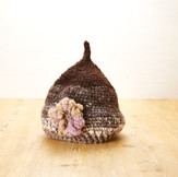 ナチュラル手紡ぎ手編みのニット帽(Na1)