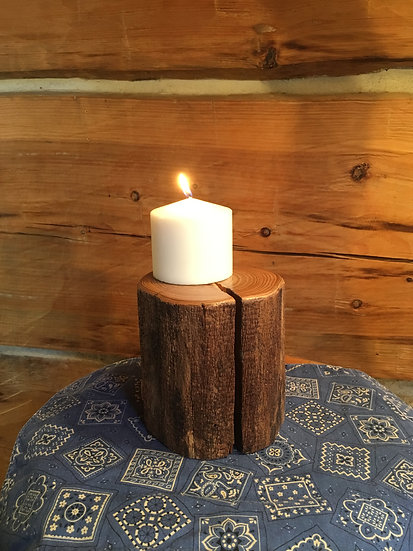 Reclaimed Fence Post Candle Holder