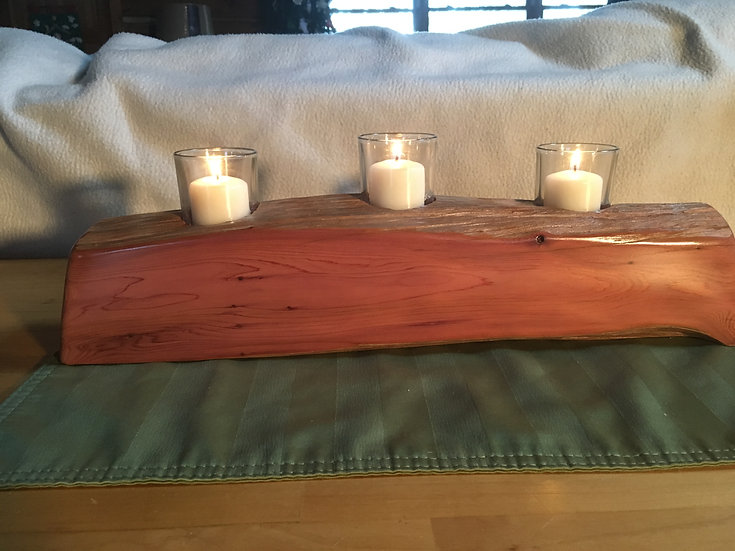 Cedar Votive Candle Holder