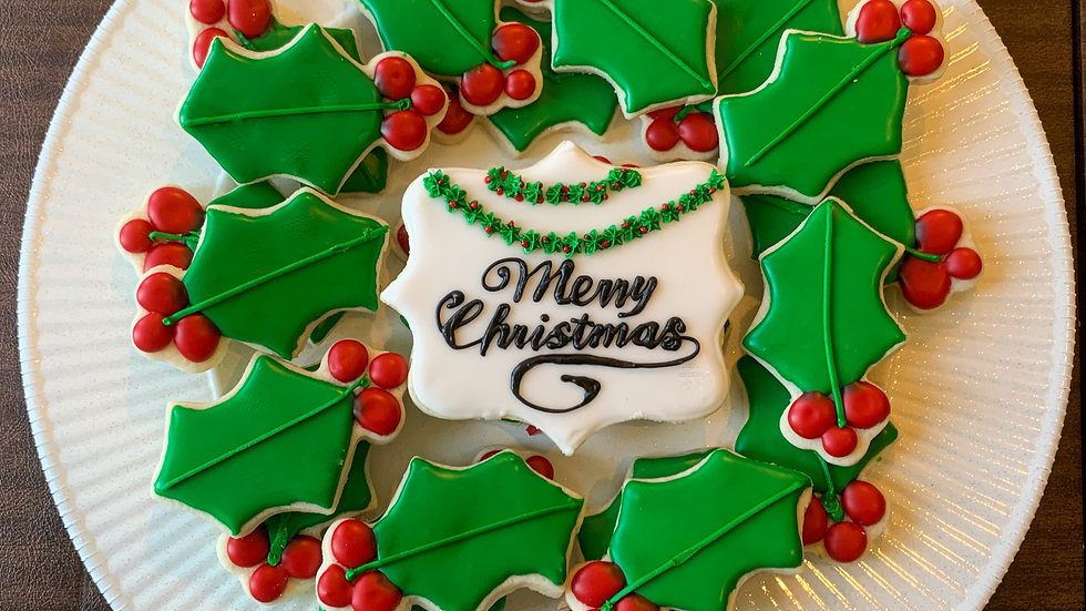 Holly Wreath Cookie Platter