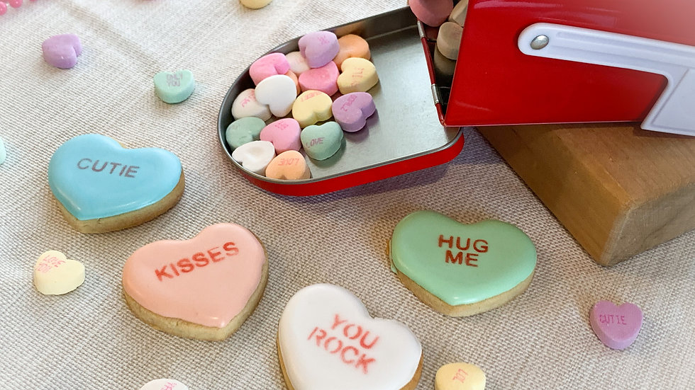 Conversation Heart Mini Cookies - Set of 4