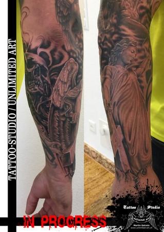 Black & Grey Tattoo / Engel Totenkopf Tattoo / Angel Skull Tattoo