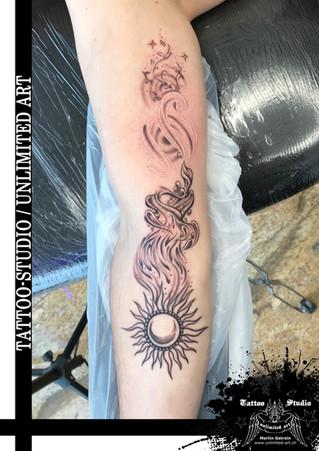 Sonne mit vier Elemente Tattoo / Sun With Four Elements Tattoo