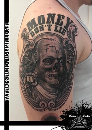 Money Don `t Lie Tattoo / FTW Tattoo / Benjamin Franklin Skull Dollar Portait Tattoo