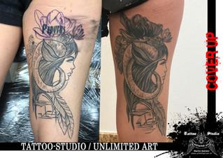 CoverUp / Widder Frau Tattoo // Aries Girl Tattoo