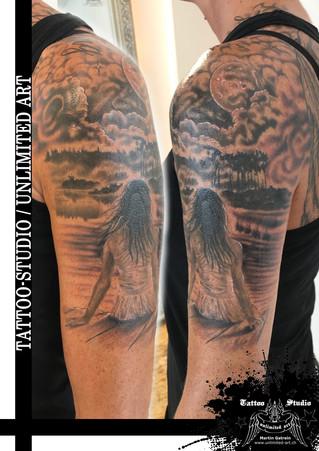 Mädchen am Steg Tattoo / Girl On The Dock Tattoo