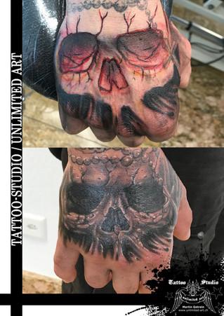 Totenkopf Handrücken Tattoo // Skull Back Of The Back-Hand  Tattoo