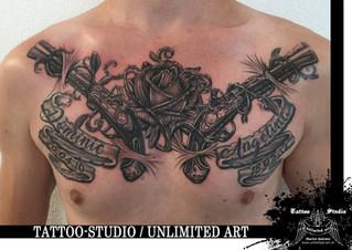 Black & Grey Chest Tattoo / Familie Tattoo / Beschütze was du liebst !!! / Family Tattoo