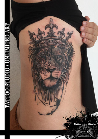 Abstraktes Muster - Löwe mit Krone Tattoo / Abstract Lion With Crown Tattoo