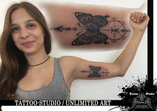 Black & Grey / Geometric Butterfly Tattoo / Schmetterling mit Geometrik Tattoo