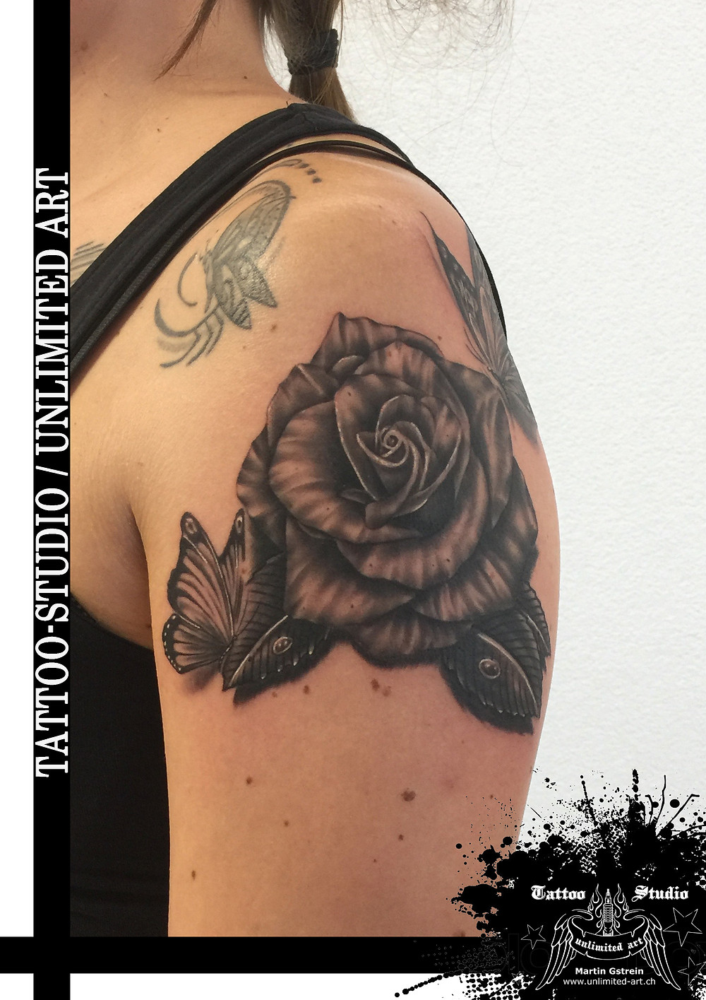 Black & Grey / Butterfly and Rose Tattoo