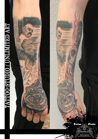 Charles Bronson Tattoo / Dollar - Rose Tattoo / Realistic Tattoo