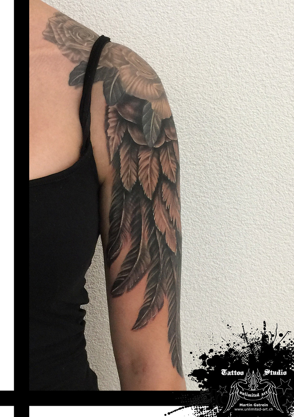 "Black & Grey - Realistic ""Angel Wings"""