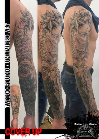 Cover Up Tattoo/Sleeve Tattoo/Hannya Maske,Koi, Kompass & Blumen Realistisch Tattoo /Sleeve Tattoo1