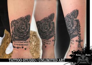 Black & Grey Tattoo / Rose mit Rosenkranz Tattoo / Rosary and Rose Tattoo