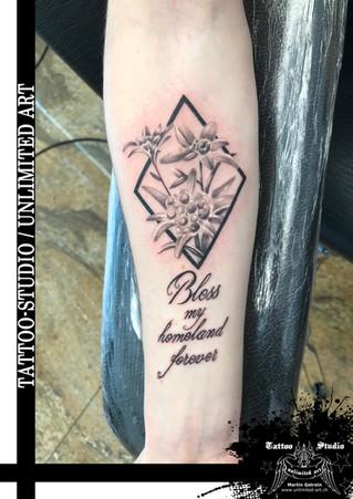 Edelweiss Tattoo /  Segne meine Heimat für immer / Bless my homeland forever Tattoo