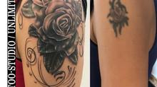 Überarbeitung Tattoo / Schnörkel & Rosen Tattoo / Cover UP Tattoo / Curlicue & Rose Tattoo 2