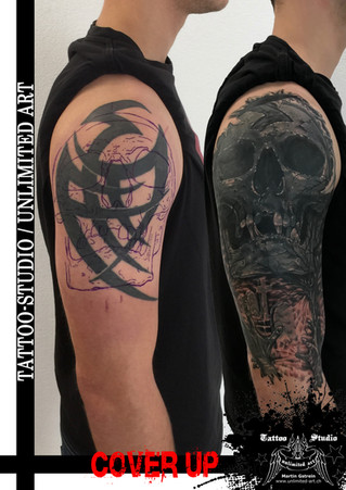 Cover Up / Totenkopf & Friedhof Tattoo / Skull & Graveyard Tattoo