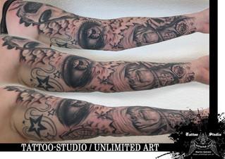 Realistic Sleeve Tattoo / Frauengesicht, Würfel, Tränendes Auge & Wolken Tattoo