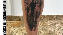 Familien Landschaft Wade Tattoo / Family Landscape Calf Tattoo