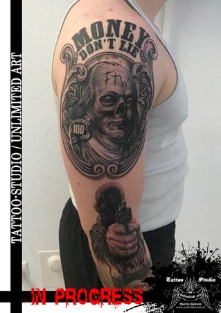 Gangster Gangsta Tattoo/Money Don `t Lie Tattoo/Gun Pistole Tattoo/Benjamin Franklin Skull Tattoo