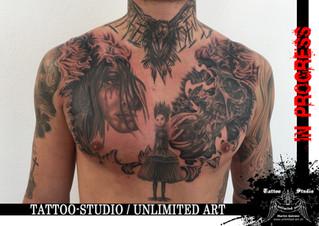 Totenkopf,Sanduhr & Frau mit Krähe Tattoo / Skull, Hourglass & Woman With Crow Tattoo (IN PROGRESS)