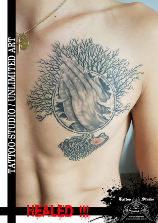 Lebensbaum mit betenden Händen Tattoo - Tattoo 100%ABGEHEILT // Chest Tattoo - Tree Of Life Tattoo