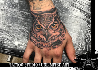 Eule Handrücken Realistisch Tattoo / Owl Back Hand Realistic Tattoo