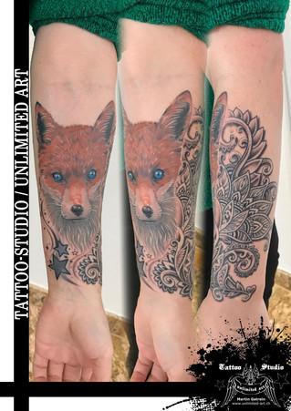 Fuchskopf mit Muster Unterarm Mädchen Tattoo / Fox Head With Pattern Forearm Girly Tattoo