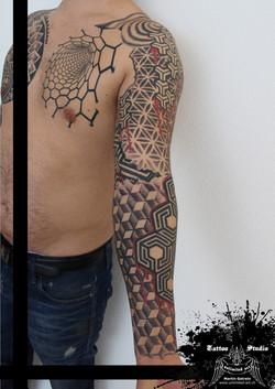 geometric sleeve tattoo