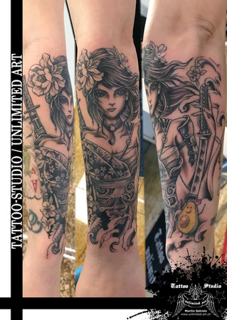Kriegerin Tattoo - Samurai Mädchen Tattoo // Female Warrior Tattoo - Samurai Girly Tattoo
