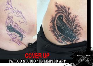 Cover Up Tattoo / Krähe Tattoo / Crow Tattoo