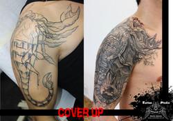 "black & grey cover up ""scorpion"""