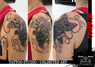 Überarbeitung Tattoo / Schnörkel & Rosen Tattoo / Cover UP Tattoo / Curlicue & Rose Tattoo 1