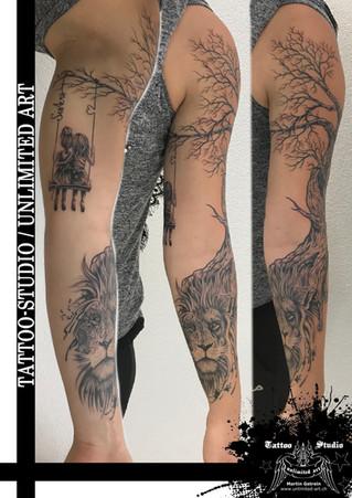 2 Fantasie Arm Mädchen Tattoo /  Löwe Tattoo // Fantasy Arm Girl Tattoo / Lion Tattoo