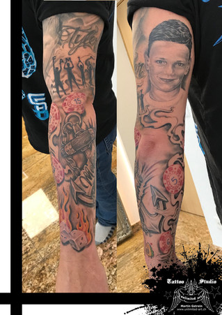 Familien Schattenbild Unterarm Realistik Tattoo / Family Sleeve Silhouette Forearm Realistic Tattoo