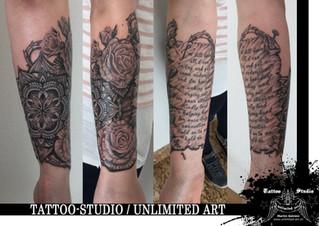 Mandala, Rosen & Schriftrolle Tattoo / Mandala, Roses & Scroll Tattoo