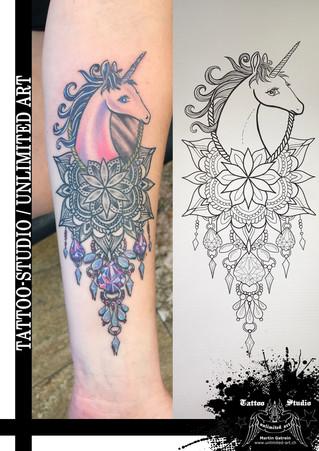 Mandala & Einhorn Tattoo / Mandala & Unicorn Tattoo