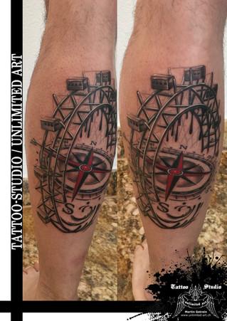 Trash Tattoo / Riesenrad & Kompass Tattoo / Ferris Wheel & Compass Tattoo