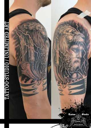 Zeus & Löwe Tattoo / Zeus & Lion Tattoo